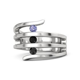 Round Black Onyx Sterling Silver Ring with Black Diamond and Tanzanite