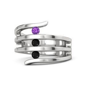 Round Black Onyx Sterling Silver Ring with Black Onyx and Amethyst