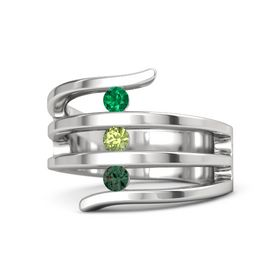 Round Peridot Sterling Silver Ring with Alexandrite and Emerald