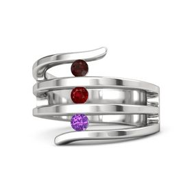Round Ruby Sterling Silver Ring with Amethyst and Red Garnet