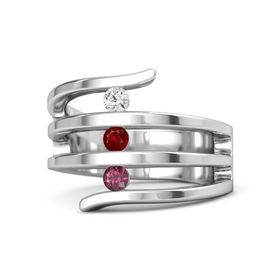 Round Ruby Sterling Silver Ring with Rhodolite Garnet and White Sapphire