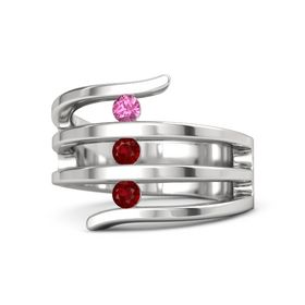 Round Ruby Sterling Silver Ring with Ruby and Pink Tourmaline