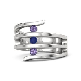 Round Sapphire Sterling Silver Ring with Iolite