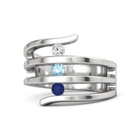 Round Blue Topaz Sterling Silver Ring with Sapphire & White Sapphire
