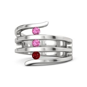 Round Pink Tourmaline Sterling Silver Ring with Ruby and Pink Tourmaline