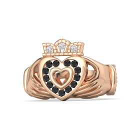 14K Rose Gold Ring with Black Diamond & White Sapphire