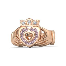14K Rose Gold Ring with Rhodolite Garnet & Diamond