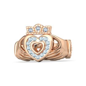 14K Rose Gold Ring with Aquamarine and Blue Topaz