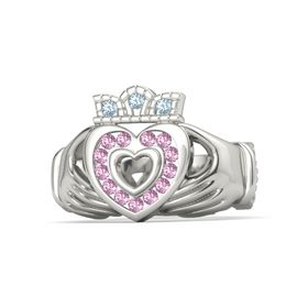 14K White Gold Ring with Pink Sapphire and Aquamarine