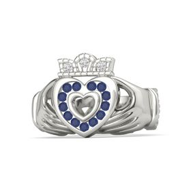 14K White Gold Ring with Blue Sapphire and White Sapphire