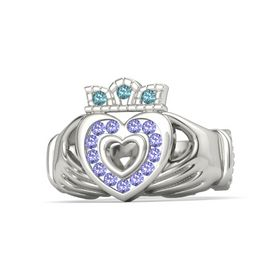 14K White Gold Ring with Iolite & London Blue Topaz