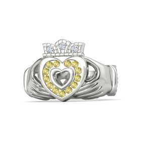 14K White Gold Ring with Yellow Sapphire and Diamond