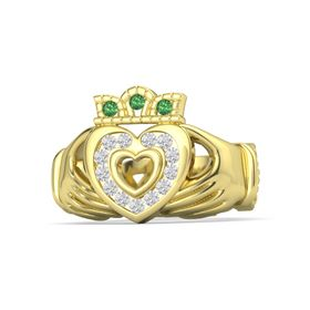 14K Yellow Gold Ring with White Sapphire and Emerald