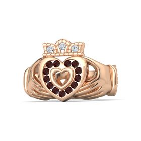 18K Rose Gold Ring with Red Garnet & Diamond