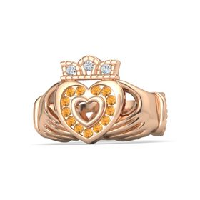 18K Rose Gold Ring with Citrine & Diamond