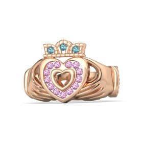 18K Rose Gold Ring with Pink Tourmaline and London Blue Topaz