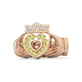 18K Rose Gold Ring with Yellow Sapphire and Diamond