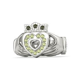 18K White Gold Ring with Peridot and Green Tourmaline