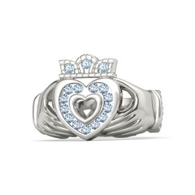 18K White Gold Ring with Blue Topaz and Aquamarine