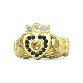 18K Yellow Gold Ring with Black Diamond and Tanzanite