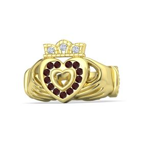 18K Yellow Gold Ring with Red Garnet and Diamond