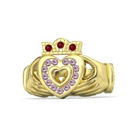 18K Yellow Gold Ring with Rhodolite Garnet and Ruby