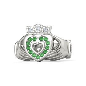 Palladium Ring with Emerald and Diamond