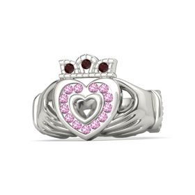 Palladium Ring with Pink Tourmaline & Red Garnet