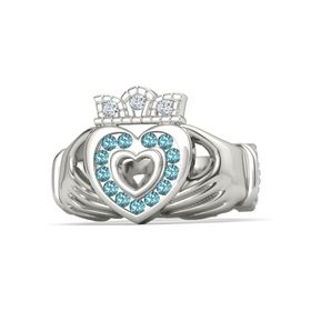 Platinum Ring with London Blue Topaz and Diamond
