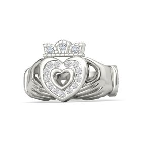 Platinum Ring with White Sapphire and Diamond