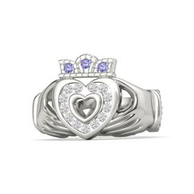 Platinum Ring with White Sapphire and Iolite