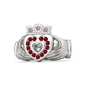 Platinum Ring with Ruby and Rhodolite Garnet