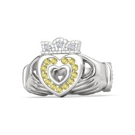 Sterling Silver Ring with Yellow Sapphire & Diamond