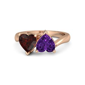 14K Rose Gold Ring with Amethyst and Red Garnet