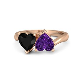 14K Rose Gold Ring with Amethyst & Black Onyx