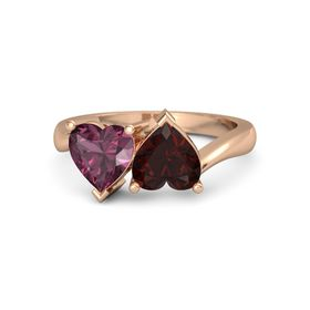 14K Rose Gold Ring with Red Garnet and Rhodolite Garnet