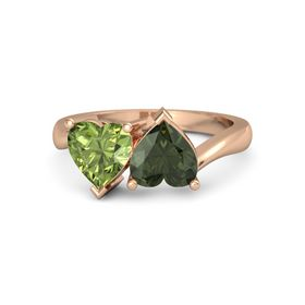 14K Rose Gold Ring with Green Tourmaline & Peridot