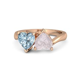 14K Rose Gold Ring with Rose Quartz & Aquamarine