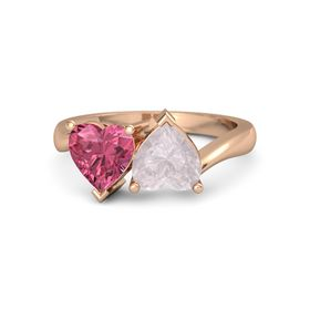 14K Rose Gold Ring with Rose Quartz & Pink Tourmaline