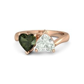 14K Rose Gold Ring with Green Amethyst & Green Tourmaline