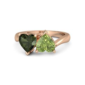 14K Rose Gold Ring with Peridot and Green Tourmaline