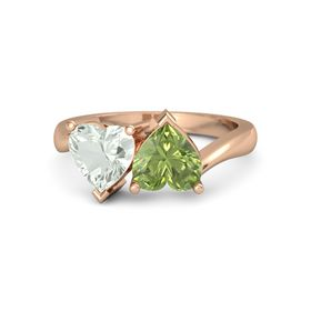 14K Rose Gold Ring with Peridot & Green Amethyst