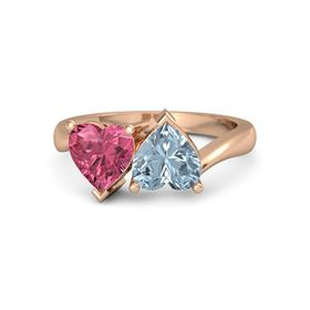 14K Rose Gold Ring with Aquamarine & Pink Tourmaline