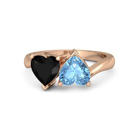 14K Rose Gold Ring with Blue Topaz & Black Onyx