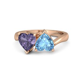 14K Rose Gold Ring with Blue Topaz & Iolite