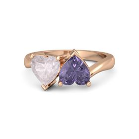 14K Rose Gold Ring with Iolite and Rose Quartz