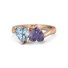 14K Rose Gold Ring with Iolite & Aquamarine