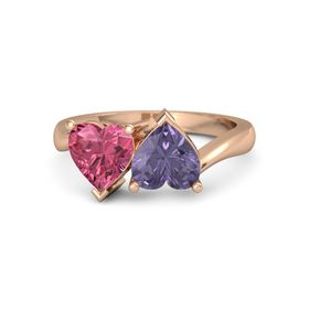 14K Rose Gold Ring with Iolite and Pink Tourmaline