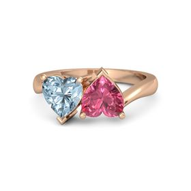 14K Rose Gold Ring with Pink Tourmaline & Aquamarine
