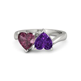 14K White Gold Ring with Amethyst and Rhodolite Garnet